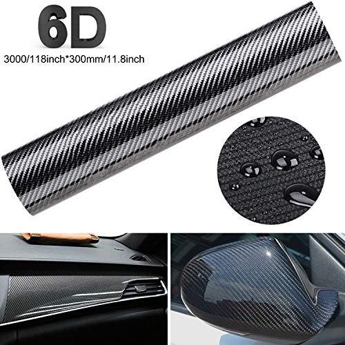 Fansport 6d pellicola adesiva carbonio adesiva foglio pellicola in fibra di carbonio rivestimento adesivo di vinile in fibra di carbonio per auto impermeabile, anti bolle, luminoso (300 * 30cm)