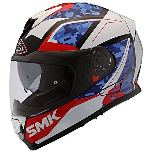 SMK Twister Zest GL135 Pinlock fitted with Clear Visor Gloss White, Red/Blue (XL)