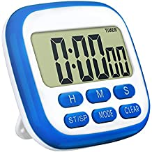 TopElek Kitchen Timer, digital timer for kitchen with larger LCD display and Loud Alarm and countdown function, Retractable Stand and hook and Magnetic Backing (Blue)