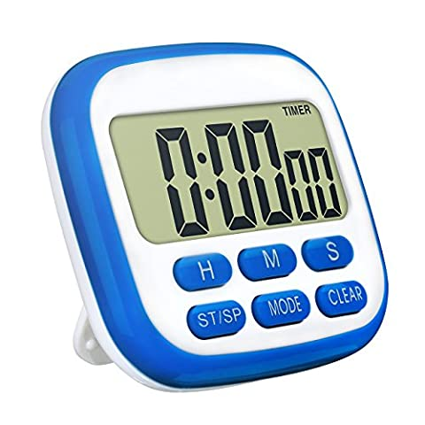 TopElek Digital Kitchen Timer, Larger LCD Display Countdown Timer 24 Hours Clock Timer with Loud Alarm, Retractable Stand, Magnetic Backing (Blue)