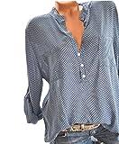Ajpguot Langarmshirt Damen V-Ausschnitt Freizeit Manschetten-Ärmel Shirt Tops Locker Punkte Bluse mit Taschen Hemden Oberteile Tuniken
