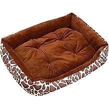 Cómodo Casa para Mascotas Cama Extra Grande para Perros Perrera Café Leopardo