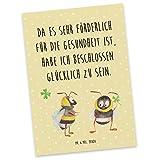 Mr. & Mrs. Panda Postkarte Hummeln mit Kleeblatt - 100% handmade in Norddeutschland - Grußkarte, Sprüche, Ansichtskarte, Spruch fröhlich, Karton, glücklich werden, Pappe, Hummel, Einladung, Spruch schön, Karte, Biene