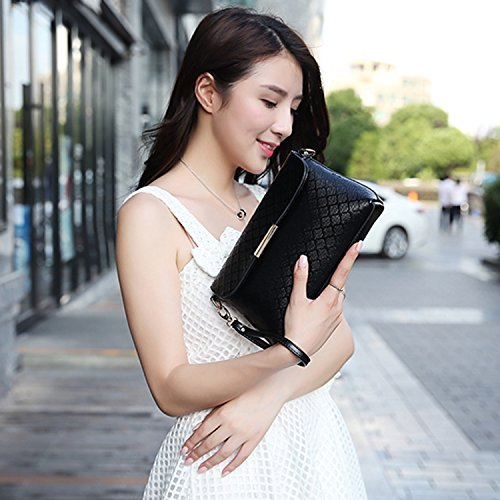 Azbro Women's Detachable Strap PU Leather Shoulder Bags, Black One Size Burgundy