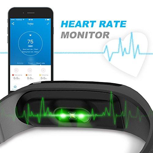 Herzfrequenzmesser Fitness-armband, LETSCOM Pulsuhren Aktivitätstracker Fitness Tracker mit Herzfrequenz-Monitor – Smart Aktivitätstracker Fitnessband Puls-Monitor-Armband Smart Schrittzähler Fitness armband für Android / iOS Smartphone, Bluetooth 4.0 IP67 wasserdichte Armband - 6