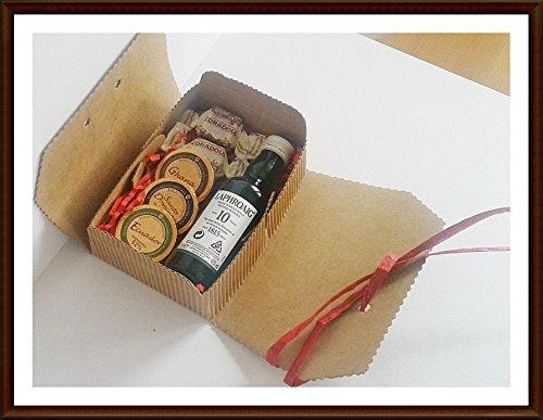 Geschenk Laphroaig 10 Jahre 5cl Miniatur Islay Single Malt Whisky mit 3 DreiMerister Edel Schokoladen & 2 Whisky Fudge, kostenloser Versand
