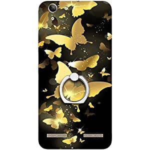 Casotec Golden Butterfly Pattern Design 3D Printed Hard Back Case Cover with Metal Ring Kickstand for Lenovo Vibe K5 Plus