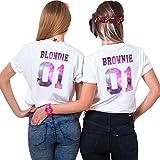 Sister Shirt Für 2 Mädchen Best Friends T-Shirt Beste Freunde Top BFF Oberteil Damen Sommer Schwarz Aufdruck Rücken Muster Kurzarm Bluse Schwester Geschenk 2 Stücke(Weiß2+Weiß2,Blondie-S+Brownie-M)