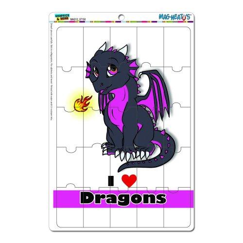 Dragon Baby I Love Drachen Herz–Pink und Schwarz MAG-Neato 's-TM) Neuheit Geschenk Locker Kühlschrank Vinyl Puzzle Magnet Set