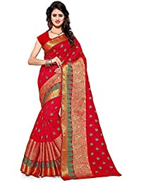 INDIAN BEAUTIFUL WOMEN'S ETHNIC WEAR RED COLOUR SAREE WITH BLOUSE PIECE