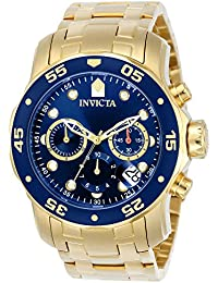 Invicta Pro Diver Men's Chronograph Quartz Watch with Stainless Steel Gold Plated Bracelet – 0073