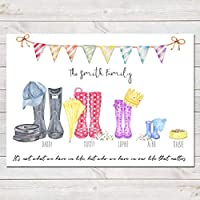 Personalised Wellington Boot Family Print (Unframed) Customised Wellies Rain Boot Welly Art Gift