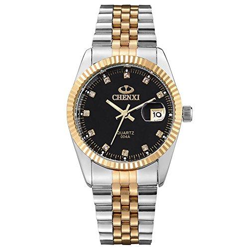 XLORDX Herren Armbanduhr, Business Casual Analog Quarz Datum Gold Uhr mit Edelstahl Armband, Schwarz Zifferblatt