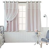 Nclon Licht Blockiert Vorhänge Gardinen,Prinzessin Schlafzimmer Spitze  Voile Vorhänge Gardinen UV Schutz Romantik Reine