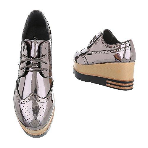 Ital-Design , Chaussures à lacets femme Silber Grau 6996-P
