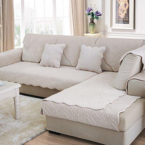 Scedgjdvxbb fodera per divano peluche,tessuto anti-scivolo copridivano semplice e moderno divano europeo gli slipcovers per soggiorno divano copre per divano in pelle-bianca 90x210cm(35x83inch)