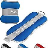 Movit® 2er Set Gewichtsmanschetten Neopren mit Reflektormaterial und Frottee-Einsatz Laufgewichte für Hand- und Fußgelenke 2X 3 kg blau