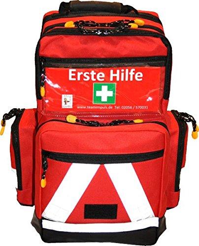 Notfallrucksack Medicus/PRO - LEER - rot aus Nylon mit weißen Reflexstreifen