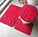 Flanella goffrato Carpet assorbimento tre set tappetini antiscivolo Red