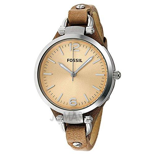 Fossil Fósiles Georgia Color beige Dial luz Brown Cuero Damas Reloj ES2830