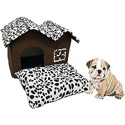 Casa de Perro de interior Habitación Doble Patrón de Punto Café Lindo Perrera Mascotas Cachorro Gato Cama Del Perro Casa de Invierno Cálido