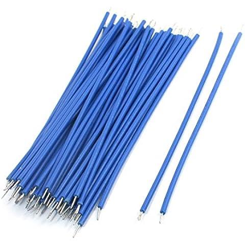 Sourcingmap - 50pcs azul soldadura pcb cable de alambre 22awg motor 2.3x120mm flexibles