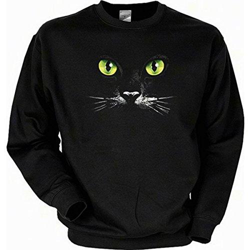 Kostüm Max Wolf Muster - sexy Katzen Augen Schwarze Katze Sweatshirt Gr XL in schwarz