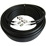 Mast Digital  30  m Twin Satellite Shotgun Cable Extension Kit with Twist on F Connectors for Sky and Freesat - Black