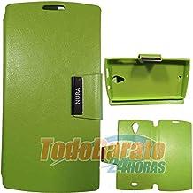 Funda Verde Libro con Soporte para Orange Nura / Alcatel One Touch M812