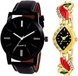 Krupa Enterprise Analogue Black Leather Strap And Golden Watch For Men And Women