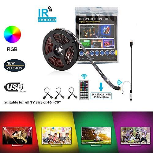 AveyLum USB LED Streifen 3M TV Hintergrundbeleuchtung LichtbandWasserdicht RGB 5050 SMD LED Stripes Beleuchtung LED Lichtleiste mit 44 Tasten Fernbedienung für 46-70 Zoll TV(2x 0.5M und 2x 1M) (Tv Led 46)