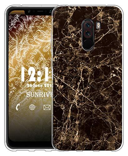 Sunrive Cover Per Xiaomi Pocophone F1, Custodia Case in molle Trasparente silicone Morbida Flessibile Antigraffio protettiva Cuscino d'aria back custodie(tpu Marmo nero)