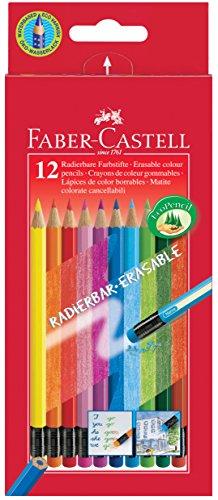 Preisvergleich Produktbild Faber-Castell 116612 Radierbare Buntstifte mit Gummitip, 12er Kartonetui