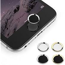 BUTEFO Botón Inicio Pegatina del metal-aluminio Inicio Botón Teclado Teclado Pegatina caso de la piel para el iPhone 5s iphone 6 iphone 6 más (Anillo de Plata Negro Button)