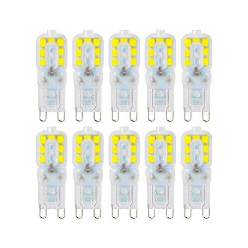 Kreema Ampoule LED Base Bi-broche G9 2835 SMD 10 PCS, Ampoule de Remplacement D'halog¨¨ne 5W, Lampe D'¨¦conomie D'¨¦nergie ¨¤ Intensit¨¦ R¨¦glable CA220V-240V Blanc Froid
