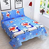 Gurnoor 3D Printed Doraemon 144 Tc Double Bedsheet with 2 Pillow Covers(Blue)