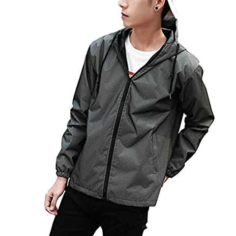 Babysbreath Men Jacket Reflective Zipper Casual Hip Hop Windbreaker Sporting Hooded Drawstring Fluorescent Running Coat XXL