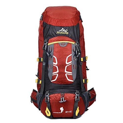 60L Camping Rucksack, Outdoor Sport Großes Capacity Light Portable Bergsteigen Wandern Reisen Reiten Multifunktions Schultern Tasche 60x33x20cm Red