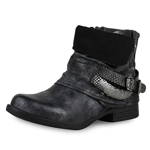 napoli-fashion Damen Stiefeletten Biker Boots Nieten Schnallen Leder-Optik Schwarz Black