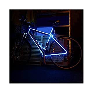 EL Wire Bike frame tunning 3 Meter Tube Rope Battery Powered Flexible Waterproof Electroluminescent Neon Light (Blue)