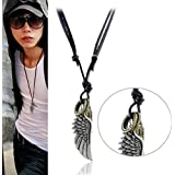 Vintage Alloy Necklace Angel's Wing Pendants Cow Leather Chain Necklace For Men Women