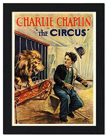 Charlie Chaplin, The Circus, 1928 Movie Poster - Framed Print 32x42cm Black
