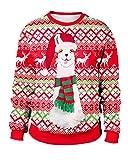 JOLIME Pull de Noël Homme Femme Sweats Moche Imprimé Renne Bonhomme de Neige Xmas Sweatshirt 602 XXL