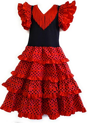 Robe Flamenco sevillane pour Fille, Rouge, 2