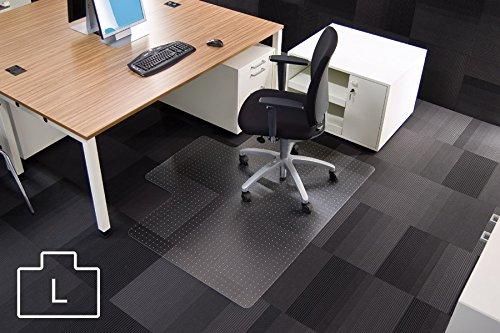 Transparente Bodenschutzmatte, 120 x 150 cm, Sonderform L, aus Makrolon®, Schutzmatte mit Noppen für Teppichböden, 17 weitere Größen wählbar