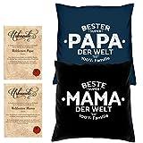 Soreso Design Hochzeitstag Geschenk für Mama und Papa -:- 2 Kissen mit Füllung plus 2 Urkunden im Set -:- Beste Mama der Welt in schwarz - Bester Papa der Welt in navy-blau