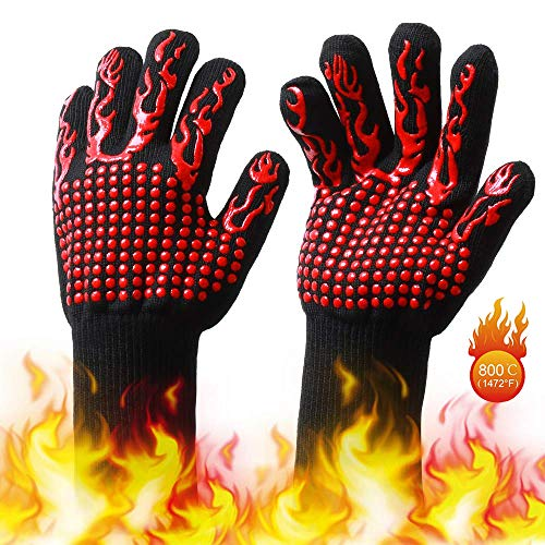 BBQ Gloves Grill Gloves, BUDDYGO Oven Gloves Extreme Heat Resistant, Up to 800 ° C, Forearm Protector For BBQ, Universal Size Cooking Gloves for Fireplace/Tig Welder/Oven/Wood Stove/Cooking/Baking