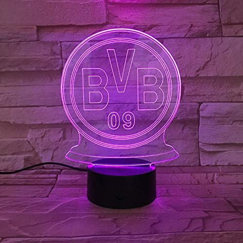 Lampe der optischen Täuschung des Nachtlicht-3D, geführtes Fußball-Team-Logo-Sichtnachtlicht, 7 Farbänderungs-Noten-Knopf, für Nachttisch, Tisch, Schlafzimmer, Kinderzimmer