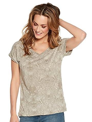 M&Co Ladies Cotton Blend Short Sleeve V Neck Floral Print Burnout T-Shirt Khaki 18