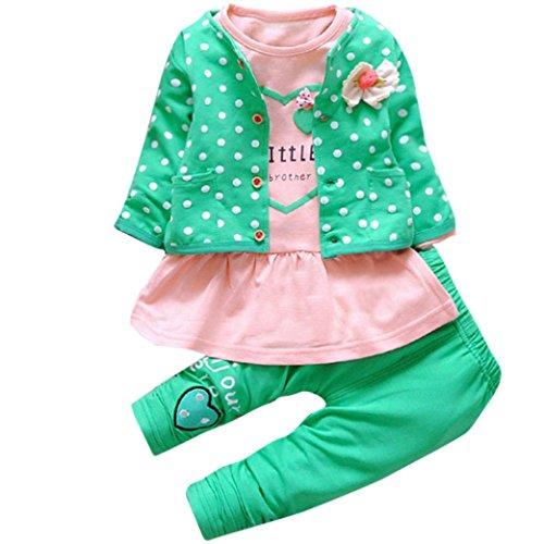 Hunpta Kinder Baby Mädchen Outfit Kleidung Dot Bowknot Strickjacke Mantel + T-Shirt + lange Hosen 1Set (70/80CM, Grün)